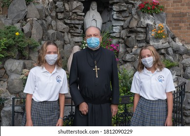 NEW YORK, NY – SEPTEMBER 09, 2020: Students attend first day of in-person learning at Catholic schools in the Archdiocese of New York at Immaculate Conception Catholic Academy.