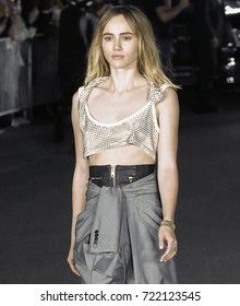 NEW YORK, NY - September 09, 2017: Suki Waterhouse walks the runway at the Alexander Wang Spring Summer 2018 fashion show during New York Fashion Week