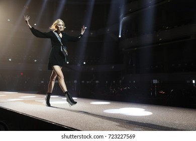 NEW YORK, NY - SEPTEMBER 09: Elsa Hosk walks  the runway at the rehearsal before Philipp Plein fashion show during New York Fashion Week: The Shows at Hammerstein Ballroom on September 9, 2017 in NYC.