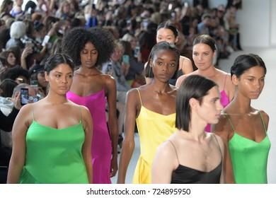 NEW YORK, NY - SEPTEMBER 09: Models walk the runway finale at the Christian Siriano fashion show during New York Fashion Week on September 9, 2017 in New York City.