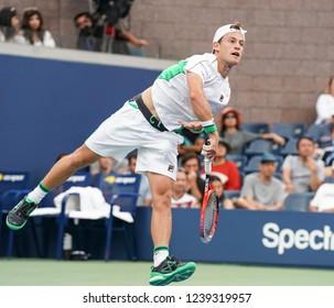 New York, NY - September 1, 2018: Diego Schwartzman of Argentina serves during US Open 2018 3rd round match against Kei Nishikori of Japan at USTA Billie Jean King National Tennis Center