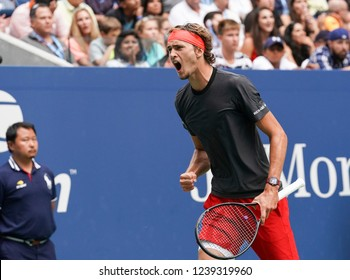 New York, NY - September 1, 2018: Alexander Zverev of Germany reacts during US Open 2018 3rd round match against Philipp Kohlschreiber of Germany at USTA Billie Jean King National Tennis Center