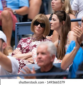 New York, NY - September 1, 2019: Anna Wintour, Bee Shaffer attend round 4 of US Open Championship between Serena Williams (USA) & Petra Martic (Croatia) at Billie Jean King National Tennis Center