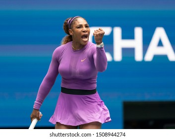 New York, NY - September 1, 2019: Serena Williams (USA) in action during round 4 of US Open Championship against Petra Martic (Croatia) at Billie Jean King National Tennis Center