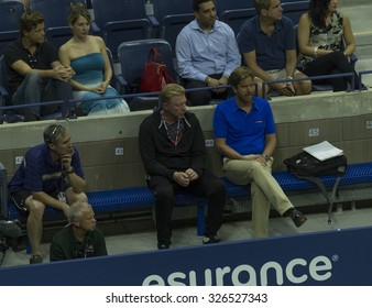 New York, NY - September 1, 2015: Boris Becker atends 1st round match between Nick Kyrgios of Australia & Andy Murray of Great Britain at US Open Championship