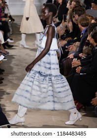 NEW YORK, NY - September 10, 2018: Adut Akech walks the runway at the Proenza Schouler Spring Summer 2019 fashion show during New York Fashion Week