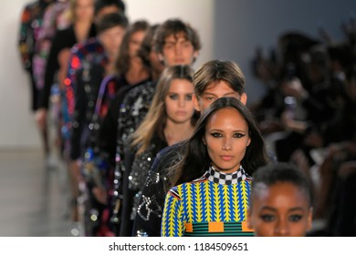NEW YORK, NY - SEPTEMBER 10: Models walk the runway for Libertine during New York Fashion Week: The Shows at Gallery II at Spring Studios on September 10, 2018 in New York City.