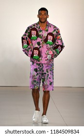 NEW YORK, NY - SEPTEMBER 10: A model walks the runway for Libertine during New York Fashion Week: The Shows at Gallery II at Spring Studios on September 10, 2018 in New York City.