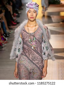 NEW YORK, NY - September 10, 2018: Sohyun Jung walks the runway at the Anna Sui Spring Summer 2019 fashion show during New York Fashion Week