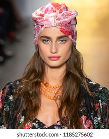 NEW YORK, NY - September 10, 2018: Taylor Hill walks the runway at the Anna Sui Spring Summer 2019 fashion show during New York Fashion Week