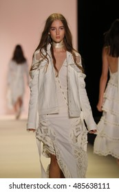 NEW YORK, NY - SEPTEMBER 10: A model walks the runway at the Jonathan Simkhai fashion show during New York Fashion Week on September 10, 2016 in New York City.