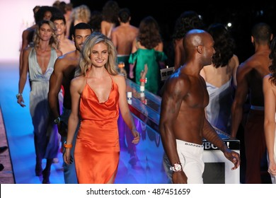 NEW YORK, NY - SEPTEMBER 10: Models walk the runway finale  at the KYBOE! fashion show during New York Fashion Week on September 10, 2016 in New York City.