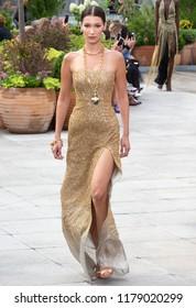 NEW YORK, NY - September 11, 2018: Bella Hadid walks the runway at the Oscar de la Renta Spring Summer 2019 fashion show during New York Fashion Week