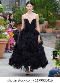 NEW YORK, NY - September 11, 2018: He Cong walks the runway at the Oscar de la Renta Spring Summer 2019 fashion show during New York Fashion Week
