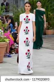 NEW YORK, NY - September 11, 2018: Blanca Padilla walks the runway at the Oscar de la Renta Spring Summer 2019 fashion show during New York Fashion Week