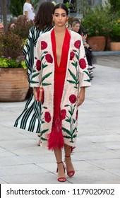 NEW YORK, NY - September 11, 2018: Nora Attal walks the runway at the Oscar de la Renta Spring Summer 2019 fashion show during New York Fashion Week