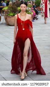 NEW YORK, NY - September 11, 2018: Yoon Young Bae walks the runway at the Oscar de la Renta Spring Summer 2019 fashion show during New York Fashion Week