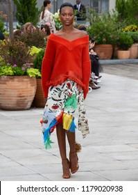 NEW YORK, NY - September 11, 2018: Mayowa Nicholaswalks the runway at the Oscar de la Renta Spring Summer 2019 fashion show during New York Fashion Week
