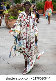 NEW YORK, NY - September 11, 2018: Duckie Thot walks the runway at the Oscar de la Renta Spring Summer 2019 fashion show during New York Fashion Week