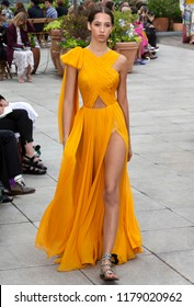 NEW YORK, NY - September 11, 2018: Yasmin Wijnaldum walks the runway at the Oscar de la Renta Spring Summer 2019 fashion show during New York Fashion Week