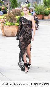 New York, NY - September 11, 2018: Gigi Hadid walks the runway for Oscar De La Renta during New York Fashion Week Spring/Summer 2019 at Spring Studios Terrace