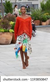 New York, NY - September 11, 2018: Model walks the runway for Oscar De La Renta during New York Fashion Week Spring/Summer 2019 at Spring Studios Terrace