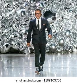 NEW YORK, NY - September 11, 2018: Designer Naeem Khan walks the runway at the Naeem Khan Spring Summer 2019 fashion show during New York Fashion Week