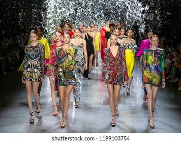 NEW YORK, NY - September 11, 2018: Models walk the runway at the Naeem Khan Spring Summer 2019 fashion show during New York Fashion Week