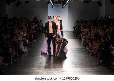 New York, NY - September 11, 2018: Model loosing shoes while walks the runway for Zang Toi during New York Fashion Week Spring/Summer 2019 at Pier 59 Studio