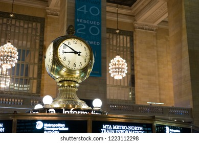 NEW YORK, NY - SEPTEMBER 11: MTA information booth iconic clock in Grand Central Terminal of New York City, New York on September 11, 2018.