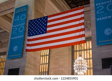 NEW YORK, NY - SEPTEMBER 11: Large American Flag Grand Central Terminal of New York City, New York on September 11, 2018.