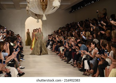 NEW YORK, NY - SEPTEMBER 11: Models walk the runway finale at Ralph Lauren fashion show during Mercedes-Benz Fashion Week Spring 2015 on September 11, 2014 in New York City.
