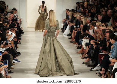 NEW YORK, NY - SEPTEMBER 11: A model walks the runway at Ralph Lauren during Mercedes-Benz Fashion Week Spring 2015 at Skylight Clarkson Sq on September 11, 2014 in New York City.