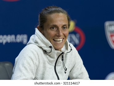 New York, NY - September 11, 2015: Roberta Vinci of Italy attends press conference after winning semifinal against Serena Williams of USA at US Open Championship on Ash stadium