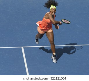New York, NY - September 11, 2015: Serena Williams of USA returns ball during semifinal against Roberta Vinci of Italy at US Open Championship on Ash stadium