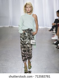 NEW YORK, NY - September 11, 2017: Hailey Baldwin walks the runway at the Zadig & Voltaire Spring Summer 2018 fashion show during New York Fashion Week