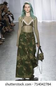 NEW YORK, NY - September 11, 2017: Sasha Belyaeva walks the runway at the Zadig & Voltaire Spring Summer 2018 fashion show during New York Fashion Week