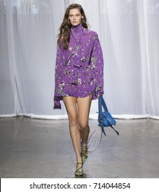 NEW YORK, NY - September 11, 2017: Angel Rutledge walks the runway at the Zadig & Voltaire Spring Summer 2018 fashion show during New York Fashion Week