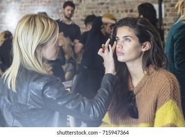 NEW YORK, NY - September 11, 2017: Sara Sampaio prepares backstage for the Zadig & Voltaire Spring Summer 2018 fashion show during New York Fashion Week Women's