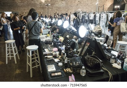 NEW YORK, NY - September 11, 2017: A view of the atmosphere backstage before the Zadig & Voltaire Spring Summer 2018 fashion show during New York Fashion Week Women's