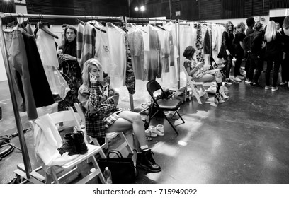 NEW YORK, NY - September 11, 2017: Hailey Baldwin (left) prepares backstage for the Zadig & Voltaire Spring Summer 2018 fashion show during New York Fashion Week Women's