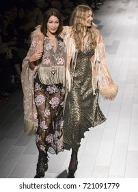 NEW YORK, NY - September 11, 2017: Bella Hadid and Gigi Hadid walk the runway at the Anna Sui Spring Summer 2018 fashion show during New York Fashion Week