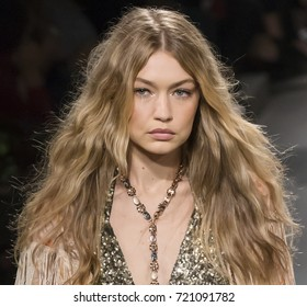 NEW YORK, NY - September 11, 2017: Gigi Hadid walks the runway at the Anna Sui Spring Summer 2018 fashion show during New York Fashion Week