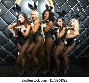 New York, NY - September 12, 2018: Playmates girls attend Playboy Club New York Opening Party on 42nd street