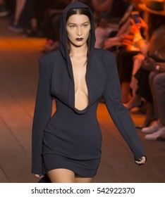 NEW YORK, NY - SEPTEMBER 12, 2016: Bella Hadid walks the runway at the DKNY Spring Summer 2017 fashion show during New York Fashion Week at High Line
