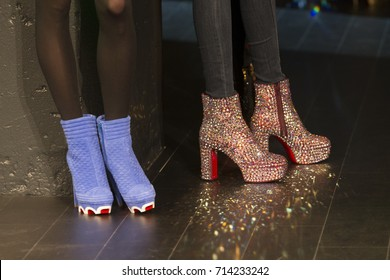 New York, NY - September 12, 2017: Models wear shoes by Christian Louboutin on runway for The Blonds show by David & Phillipe Blonds at New York Fashion Week Spring/Summer 2018 at Skylight Clarkson