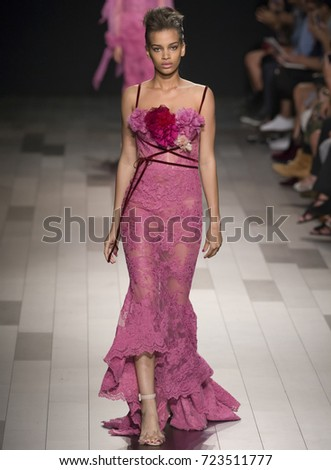 NEW YORK, NY - September 13, 2017: Nisaa Pouncey walks the runway at the Marchesa Spring Summer 2018 fashion show during New York Fashion Week