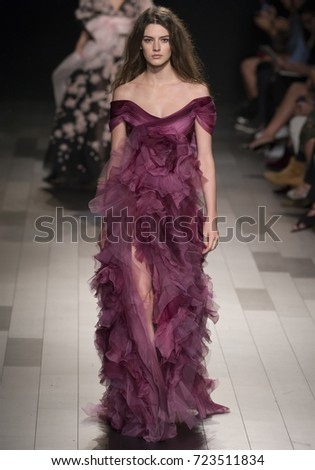 NEW YORK, NY - September 13, 2017: Marie Damian walks the runway at the Marchesa Spring Summer 2018 fashion show during New York Fashion Week
