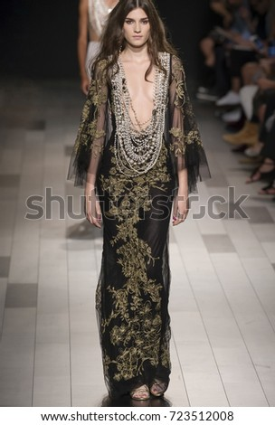 NEW YORK, NY - September 13, 2017: Irina Djuranovic walks the runway at the Marchesa Spring Summer 2018 fashion show during New York Fashion Week