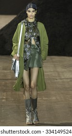 New York, NY - September 14, 2015: Bhumika Arora walks the runway at the 3.1 Phillip Lim Spring Summer 2016 fashion show during New York Fashion Week at Pier 94